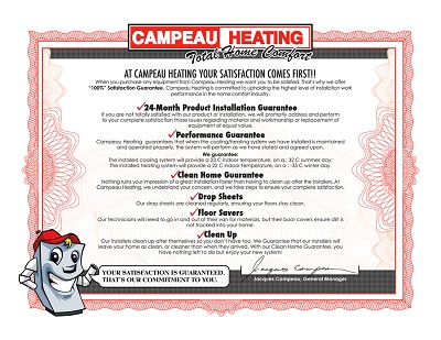 Campeau Heating Gaurantee