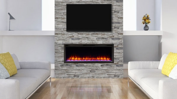 "Click to view 50"" ALLUSION PLATINUM RECESSED LINEAR ELECTRIC FIREPLACE"